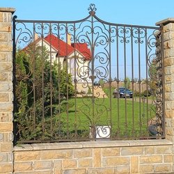 An exclusive wrought iron gate and fence in a family villa - A historical fence