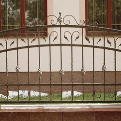 A wrought iron fence with wrought iron elements - A simple fence